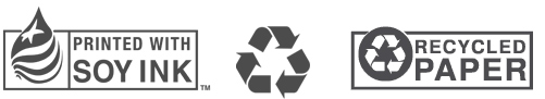 soy-based ink, recycled paper, we recycle all waste